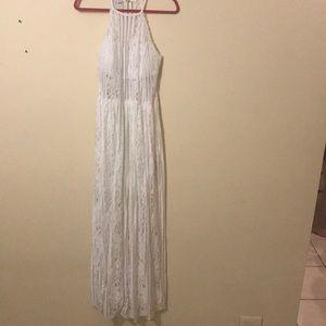 Bebe white maxi lace no sleeve dress size M